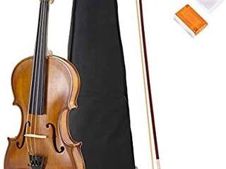 JMFinger 4 4 Full Size Vilion  Handcrafted Acoustic Violin Beginner Kit with Hard Foamed Case  Bow  Rosin  Great for Kids Starters