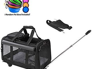 Coopeter Pet Carrier Stroller with Wheels for Travel and Outdoor Easy to Fold Durable Mesh Panels   Washable Fleece Mat  Black
