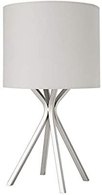 Amazon Brand a Rivet Silver Bedside Table Desk lamp with light Bulb   18 Inches  linen Shade