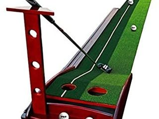 lIQIWI Golf Indoor Putting Green Solid Wood Putter Trainer with Automatic Ball Return System