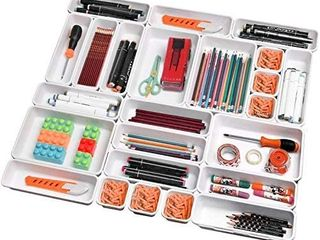 Toolly Set of 24 Interlocking Desk Drawer Organizer Tray Dividers Plastic Shallow Narrow Drawers Organizers Separators Storage Bins Container