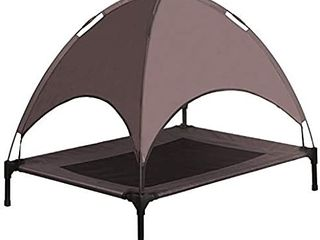Niubya Elevated Dog Bed with Canopy  1680D Oxford Fabric Mesh Portable Raised Pet Cot  Brown
