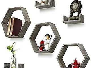 Wall Shelf Set of 6   Rustic Wood 3 Hexagon Boxes and 3 Small Shelves for Free Grouping Driftwood Finish