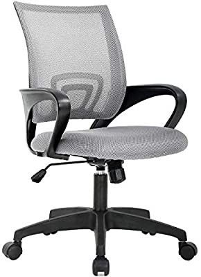 Home Office Chair Ergonomic Desk Chair Mesh Computer Chair with lumbar Support Armrest Executive Rolling Swivel Adjustable Mid Back Task Chair for Women Adults  Grey