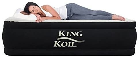 King Koil Queen Air Mattress with Built in Pump   Best Inflatable Airbed Queen Size   Elevated Raised Air Mattress Quilt Top