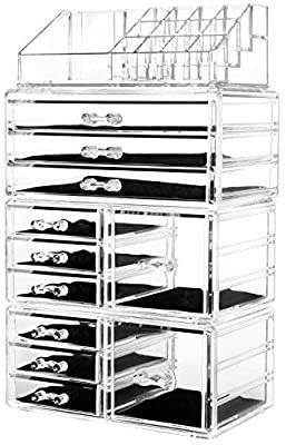 HBlife Makeup Organizer 5 Pieces Acrylic Cosmetic Storage Drawers and Jewelry Display Box  large