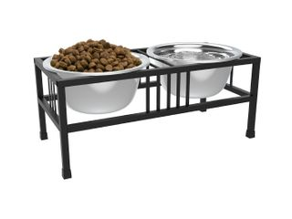 Stainless Steel Elevated Pet Bowls with Nonslip Stand for Dogs and Cats Raised Feeder for Food and Water With Removable Dishes  40 Oz Each By PETMAKER