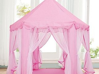 IsPerfect Kids Indoor Princess Castle Play Tents Outdoor large Playhouse With led lights Perfect Outdoor Child Toys   55 x 53 DxH