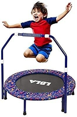 36 Inch Kids Trampoline little Trampoline with Adjustable Handrail and Safety Padded Cover Mini Foldable Bungee Rebounder Trampoline Indoor Outdoor