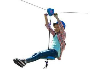 HearthSong 150  Blue Kids  Backyard Zipline Kit with Adjustable Seat  Non Slip Handles  Rubber Stopper  and Hanging Hardware  Holds Up to 250 lbs