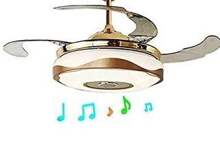 42 Inch Bluetooth Ceiling Fans with lights and Remote Control  Retractable Chandelier Fan lighting with Speaker Play Music 7 Colorful Dimmable Fixture for living Dining Room 36W