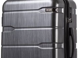 Coolife luggage Expandable only 28  Suitcase PC ABS Spinner Built In TSA lock 20in 24in 28in Carry on  Charcoal  l 28in