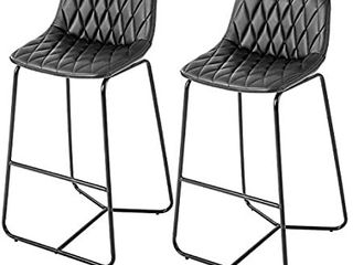 Qulomvs Bar Stools with Back 30 inches Counter Height Barstools Set of 2 PU leather Bar Chairs for Kitchen and Patio
