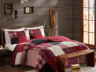 Woolrich 100  Cotton Quilt Reversible Plaid Cabin lifestyle Design   All Season  Breathable Coverlet Bedspread Bedding Set  Matching Shams  Sunset  Red King Cal King 110 x96