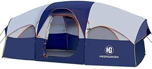 HIKERGARDEN Tent 8 Person Camping Tents  Waterproof Windproof Family Tent  5 large Mesh Windows  Double layer  Divided Curtain for Separated Room  Portable with Carry Bag   Blue
