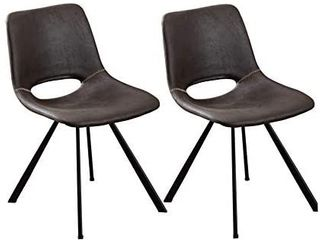 Suede Upholstered Dining Chairs Per Home Modern Mid Century Side Chair with Metal legs for Kitchen Dining Room living Room Bedroom Black Brown Set of 2