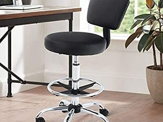 Maison Office Desk Chair Adjustable Swivel Rolling Stool with Wheels Armless Drafting Task Chair with Foot Rest and Back Support for Home Office Bar Kitchen Shop Salon Spa Massage Medical  Black