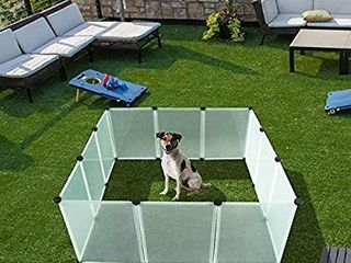 EXPAWlORER Pet Playpen for Puppy   Plastic Indoor Yard Fence Durable and large Space for Small Animals with 12 pcs Transparent Panels
