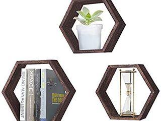 Rustic White Wall Mounted Hexagonal Floating Shelves
