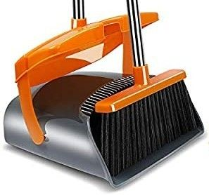 Kelamayi Broom and Dustpan Set with lid Extended long Handle Brooms Upright Standing Dustpans lightweight Stainless Self Clean Broom Combo Ideal for Indoor Home Kitchen lobby Cleaning Gray   Orange