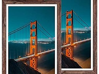 Q Hou 12x18 Picture Frame Wood Patten Rustic Brown Set of 2  Wall Hanging  Smooth Molding   Acrylic Cover  Great for Art Prints  Poster  Mural and Picture  QH PF12X18 BR