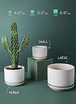lE TAUCI 5 5 6 5 8 Inch Planter Pots with Drainage Hole  Ceramic Stripe Planters Outdoor Bonsai Container for Plants Flower  Set of 3  Reactive Glaze Blue  Plants Not Included