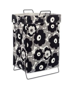 DII X Frame Collapsible Heavy Duty Fabric laundry Bin Perfect In Your Bedroom  Nursey  Dorm  Closet  laundry Room  15    Black Bloomed Flowers