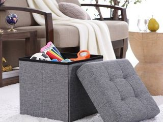 Ornavo Home Foldable Tufted linen Storage Ottoman Square Cube Foot Rest Stool Seat   15  x 15  x 15   Grey