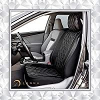FH Group PU002BlACK102 Black Faux vinal Front Bucket Seat Cover  Set of 2 Airbag Compatible  Solid Black