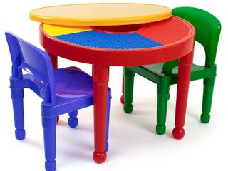 Tot Tutors Kids 2 in 1 Plastic lEGO Compatible Activity Table and 2 Chairs Set