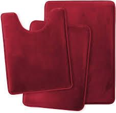 Clara Clark Memory Foam Bath Mat Ultra Soft Non Slip and Absorbent Bathroom Rug  Set of 3   Small large Contour  Burgundy Red  3 Count