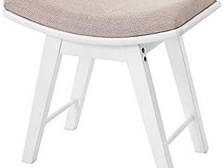 IWEll Boho Vanity Stool with Rubberwood legs  Makeup Bench Dressing Stool  Padded Cushioned Chair
