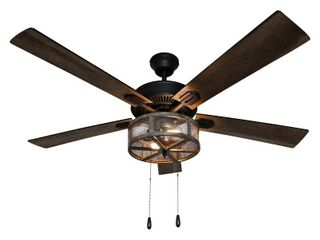 River of Goods 52  Shabby Bronzed Farmhouse lED Ceiling Fan with light