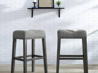 The Gray Barn Overlook Upholstered Backless Saddle Seat Bar Stool  Set of 2    Retail 119 49