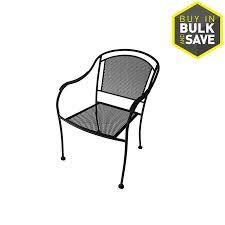 Garden Treasures Davenport Black Stackable Metal Stationary Dining Chair s  with Mesh Seat