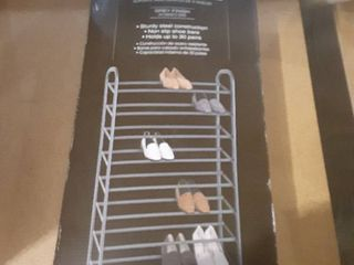 Easy Home Organization 8 Tier Shoe Stand Grey Finish Sturdy Steel Construction Non Slip Shoe Bars Holds up to 30 Pairs