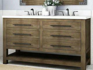 Grey Oak Double Sink Vanity w  Stone Top