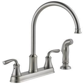 Delta lorain Stainless 2 Handle High Arc Kitchen Faucet with Side Spray RETAIl 104