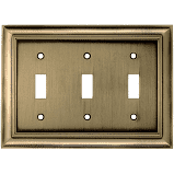 Allen   Roth Triple Toggle 3 gang Wall Switch Plate Antique Brass Finish RETAIl  12 97