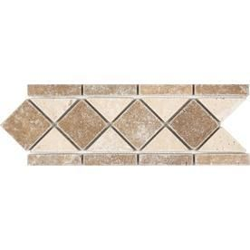 Noce and Chiaro Travertine Natural Stone Mosaic listello Tile  Common  4 in x 12 in  Actual  4 12 in x 11 25 in  RETAIl  5 98