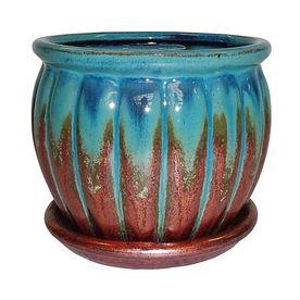 Garden Treasures 4 72 in x 4 72 in Copper Green Ceramic Planter RETAIl  4 98