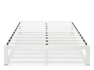 Full Size Heavy Duty Bed Frame Steel Slat Platform Series Titan E  White   Crown Comfort Retail 175 49
