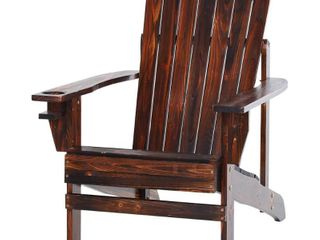 Outsunny Outdoor Classic Wooden Adirondack Deck lounge Chair w  Ergonomic Design   Built In Cup Holder