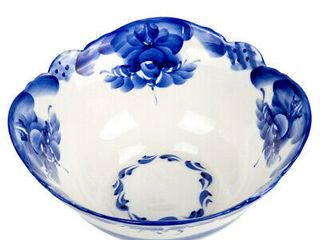 Gzhel Blue   White Porcelain Salad Bowl