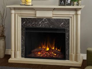 Maxwell Grand Whitewash Electric Fireplace Frame Only