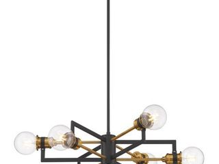 Nuvo lighting Warm Brass Black Intention 6 light Chandelier