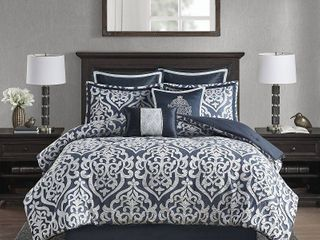California King Eliot 8pc Jacquard Comforter Set   Navy