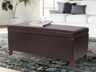 Adeco Faux leather Tufted lift Top Storage Ottoman Bench Footstool