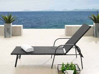 Corvus Antonio Outdoor Contemporary Sling Fabric Adjustable Chaise lounge Retail 256 99