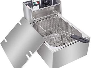 6 3QT 6l Stainless Steel Single Cylinder Electric Fryer